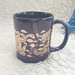 Black Ceramic Mugs with Golden Design