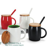 Fine Porcelain Ceramic Mugs With Wood Cover