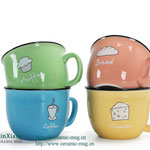 Color Glazed Ceramic Mugs Cartoon