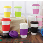 Double Wall Ceramic Cups with silicone lid