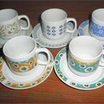 Color Glazed Tea Cups and Saucers