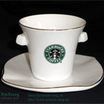 Lotus-leaf shape Starbucks Ceramic Coffee Cup & Saucer