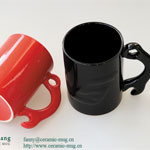 Relief Special-shaped Handle Ceramic Coffee Mugs