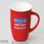 Red Color Glazed Ceramic Coffee Mugs 10OZ