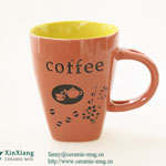 Brown Relief Ceramic Coffee Mugs