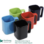 Square Color Glazed Ceramic Coffee Mugs