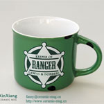Green Ceramic Mugs with Printing