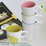 V Shape Ceramic Coffee Mugs Leaf