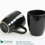 Black Glazed Ceramic Coffee Mugs 11oz