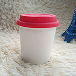 Fat Double-Wall Ceramic Cups with silicone lid